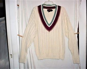 Vintage 80s Eddie Bauer White Cotton Preppie Knit Pullover Sweater L As Is