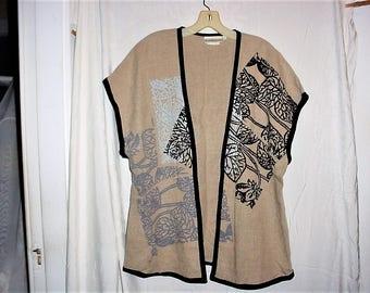 Vintage 80s Beppa Art To Wear L Beige Linen Block Print Cardigan Vest