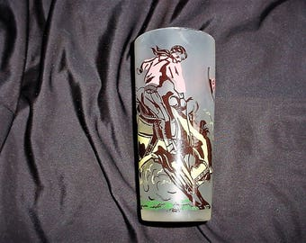 Vintage 50s Frosted Cowboy Glass Tumbler Southwestern Horse