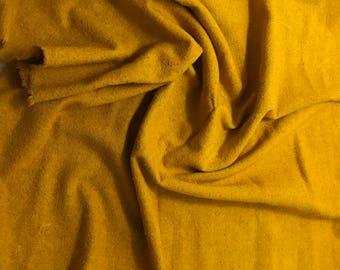"Hand Dyed Honey Mustard Raw Silk Noil Fabric - 18""x22"""