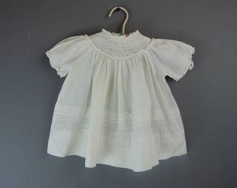 Vintage Baby Dress 1950s Cotton by Cherubs, 18 months, Eyelet Embroidery & Lace
