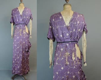 Totally Shredded Antique Silk Dress, 1900s, beyond repair, not wearable, falling apart Vintage As Is Purple Dress