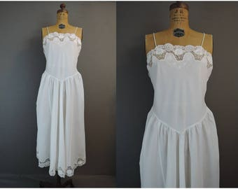 Vintage White Nightgown or Slip, 36 bust, Cotton Blend with Lace and Pink Embroidered Flowers