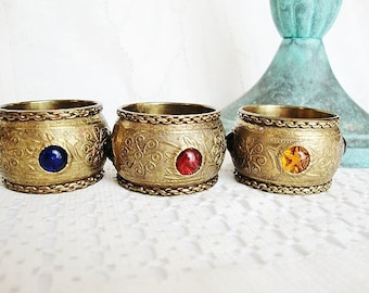3 vintage brass napkin rings with jewels