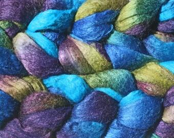 Blueface Leicester Tussah Silk Spinning Fiber - 'Green Dragon'