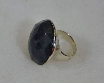 Silvertone Faceted Glass Stone Dome Ring Size 6-1/2
