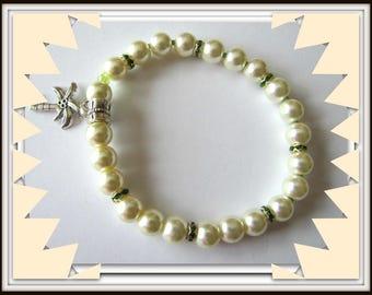 Pearl Stretch Bracelet, Yellow Bracelet, Palm Tree Charm Bracelet, Beaded bracelet, fits 6  1/2 to 7 inch wrist, Body Jewelry, #1237
