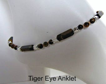 Tiger Eye Anklet,  Gemstone Anklet,  Body Jewelry,  Beaded Anklet, Foot Jewelry, Browns, Large  10 inch, Lobster Claw Clasp Item #1286