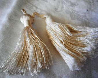 Lot of 2 VINTAGE White Cotton &  Rayon Tassels