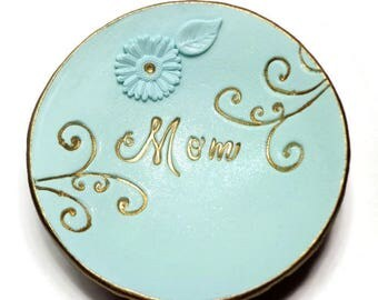 Mom Personalized Ring Dish- Handmade Ring Dish- polymer clay Bowl- Mint Ring Holder Gifts for Mom Birthday