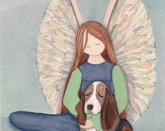 Basset hound with angel / Lynch signed fok art print
