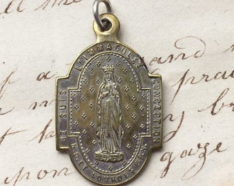 Antique Our Lady of Lourdes / Virgin Mary Medal