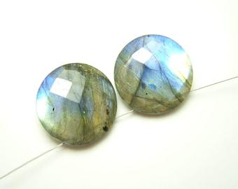 Blue Labradorite Faceted Coins - Pair - 15mm