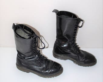 90s tall lace up combat boots 1990s grunge military style blacck leather boots size 8