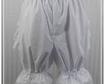 White fancy ruffle knee length bloomers steampunk lolita adult women