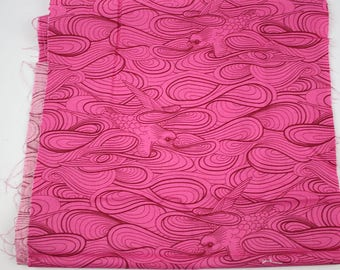 FABRIC DESTASH - OOP Tula Pink Birds and Bees Sunset Sparrow fabric, 11.5 x 41 inches