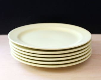 LuRay Pastels yellow  bread and butter plates. Taylor Smith Taylor mid century modern design. Set of six.