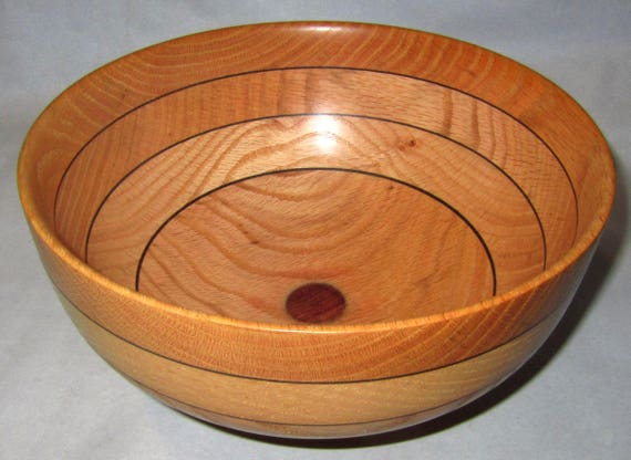 "Laminated Red Oak Wood Turned Bowl ""Easily Explained"" – 2-03"