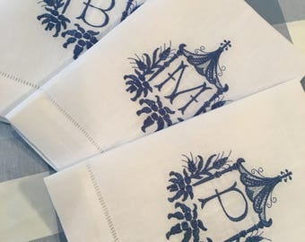 Monogrammed Pagoda Tea Towel Linen Cotton Embroidered