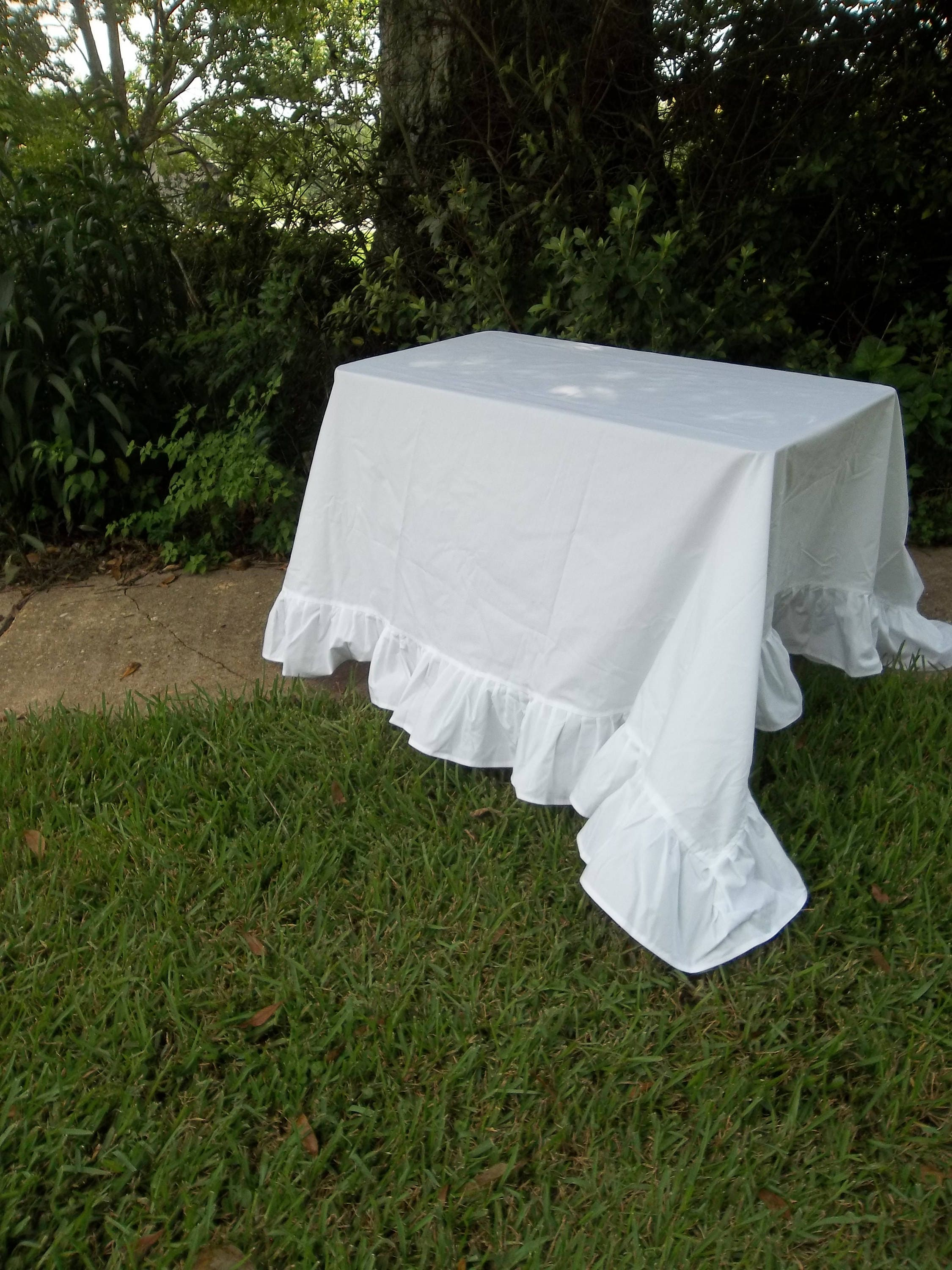 Bright White Ruffled Tablecloth Ruffled Table Cloth 108x122 Handmade  Wedding Decorations Table Decor French Country