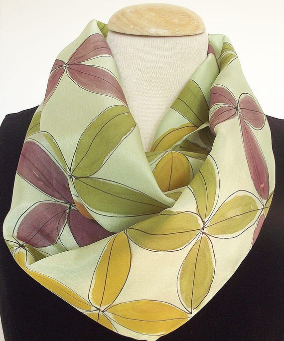 Hand Painted Infinity Silk  Scarf -  Sage Green with Abstract Leaf Pattern in Gold, Rust, Plum and Green- 9 x 60 inches