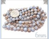 25 Blue & Gold Czech Glass Melon Beads - Blue Melon Beads with Gold Wash 6mm - CZN26