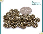 100 Antiqued Brass Daisy Spacers 6mm DS17