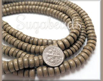 Pucalet Rondelle Wood Beads -Greywood Rondelle Beads - Gray Wood Beads 8mm