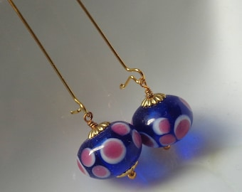 Blue Earrings Deep Blue  Earrings, Blue Dangle Earrings, Blue Jewelry, Bridesmaid Earrings,Kidney Earrings, Dangle Earrings Lampwork Earring