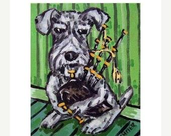 20% off storewide Schnauzer Playing the Bagpipes Dog Art Print  JSCHMETZ modern abstract folk pop art AMERICAN ART gift