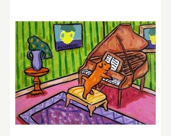 20% off Norfolk Terrier Playing Piano Dog Art Print