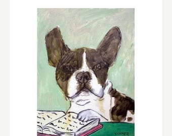 20% off French Bulldog - FRENCHIE, french bulldog art, french bulldog print, librarian art, reading,  dog art PRINT