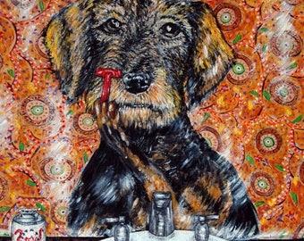 20% off welch welsch terrier dog -art tile coaster- modern folk art- bathroom, dog , dog tile, bathroom tile,pop art