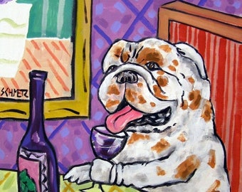 20% off Bulldog at the wine bar dog art print 11x14 signed