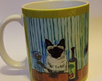 20% off Siamese cat at the Wine Bar mug cup 11 oz art mug cup 11 oz gift