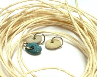Drilled Beach Stones BLUE CLUSTER Leland Slag Pebbles Sea Glass River Rocks Jewelry Beads Pendant Charm Blonde Pebbles