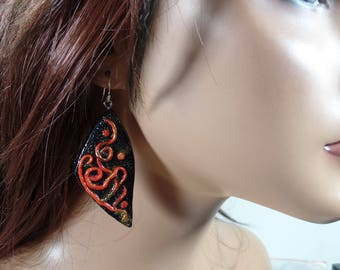 Polymer clay confetti filigree earrings, red, gold and black