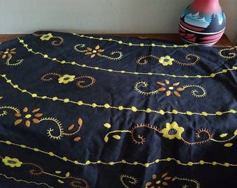 Vintage Black Cotton Embroidered Tablecloth With Floral, Leaf, And Vine  Designs, Round 60