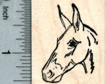 Donkey Rubber Stamp, Portrait E33413 Wood Mounted