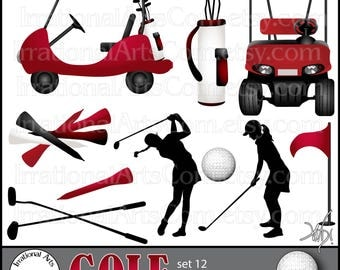 Golf Set set 12 Red Women - Digital Graphics - 11 png files - Golf carts, silhouettes, clubs, ball tees, flag, golf bag {Instant Download}