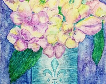 Spring flowers in pinks, yellows, and purples