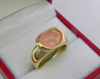 AAAA Pink Morganite  3.35 carats  10x8.2mm in 14K Yellow gold bezel set ring.  0258
