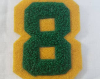 Vintage chenille letter number 8 in yellow and green