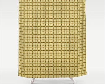 Shower Curtain Golden Yellow Grid and Rivet Tile Pattern, Industrial Chic Design Home Decor, Man Cave Bathroom Accessory