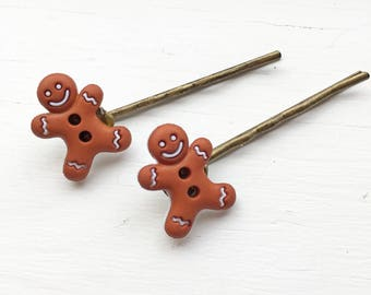 Gingerbread Barettes (set of 2)