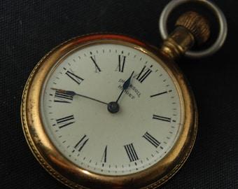 Vintage Antique Watch Pocket Watch Movement Case Body Dial Face Steampunk Altered Art QR 62