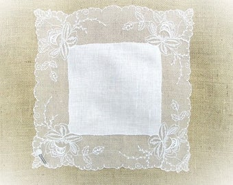 Vintage Handkerchief Embroidered Net Lace White Linens Swiss Hankie Switzerland Hanky Wedding Bridal Shower Gift MWT Mint Unused Tag