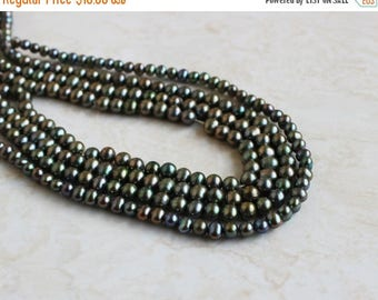 Deep Discount Sale Freshwater Pearl Olive Teal Roundish Potato 5.5mm 85 beads