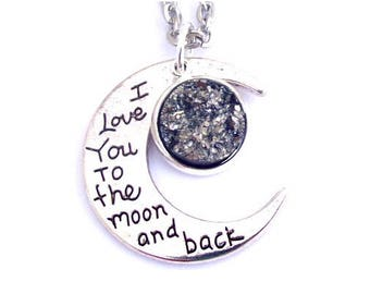 """Gun Metal Gray Faux Druzy I Love You To The Moon And Back Nacklace 30"""" Stainless Steel Chain"""
