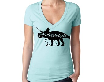 Mamasaurus Short Sleeve Shirt - Available in Multiple Colors - with Mama Dinosaur and Baby Triceratops silhouettes and hand lettering